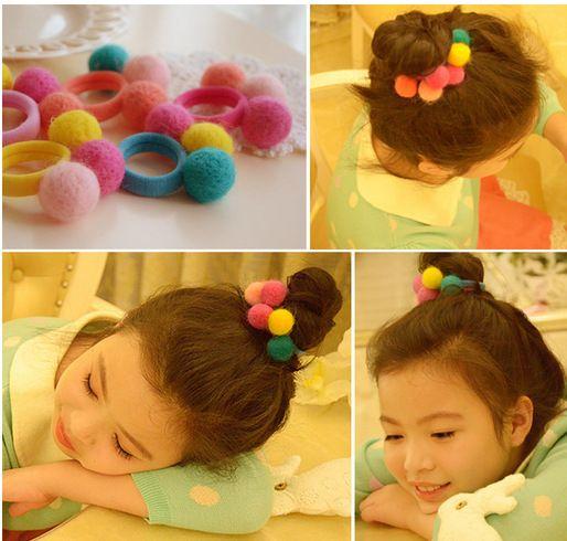 2 Pçs/lote Cordas de Cabelo Bonito Bebê Meninas Colorido Pompom Crianças Algodão Elástico Elásticos de Cabelo Para Crianças Acessórios Para o Cabelo Laço goma(China)
