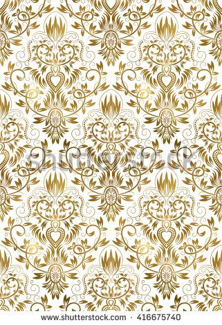 #Golden white #vintage #seamless #pattern. #Gold #royal #classic #baroque #wallpaper. #Arabic #background #ornament.