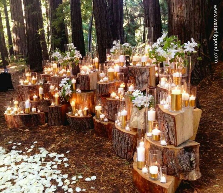 I absolutely adore this setup for a wedding! Forest+Candles= A Romantic, Whimsical wedding! - Julia Seiler http://blog.juliaseilerphotography.com
