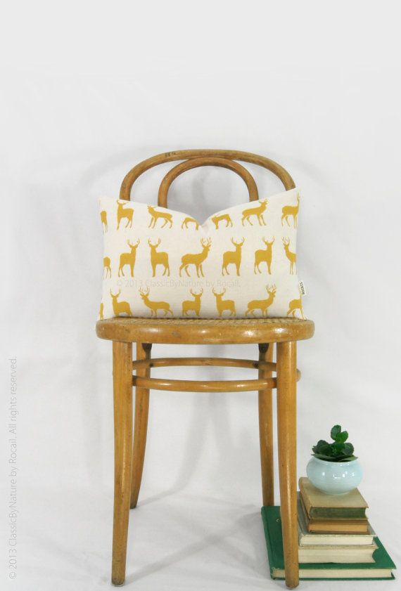 Mustard Deer Pillow Cover - Decorative Throw Pillow Case  - Colorful Accent - Stag Cushion - Yellow and Cream 12x18 Lumbar Pillow
