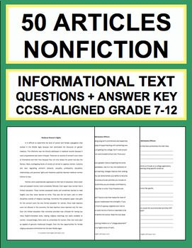 Informational Text Questions: 50 Non-Fiction Articles: Teach Common Core informational Text Reading Skills with 50 non-fiction articles and accompanying text-based questions that students will love! FULL-YEAR'S WORTH OF NON-FICTION READING RESPONSE ACTIVITIES!! - 18 two to three page articles. - 32 half page articles. - All 50 informational text articles have 4 accompanying nonfiction text-based questions #informationaltextactivities #readingresponseactivities
