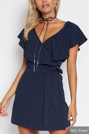 Navy V-Neck Flouced Design Self-tie Waist Mini Dress
