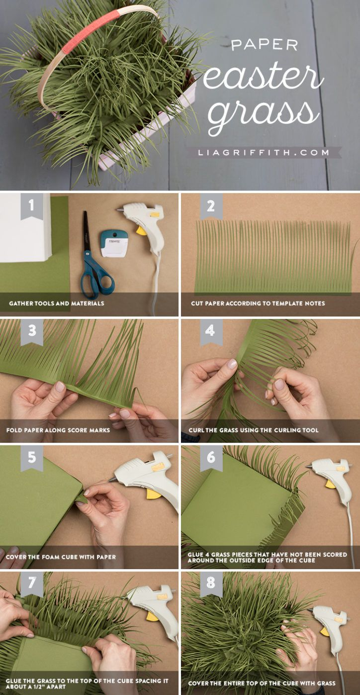Make A Diy Woven Paper Basket With Easter Grass Paper Flowers