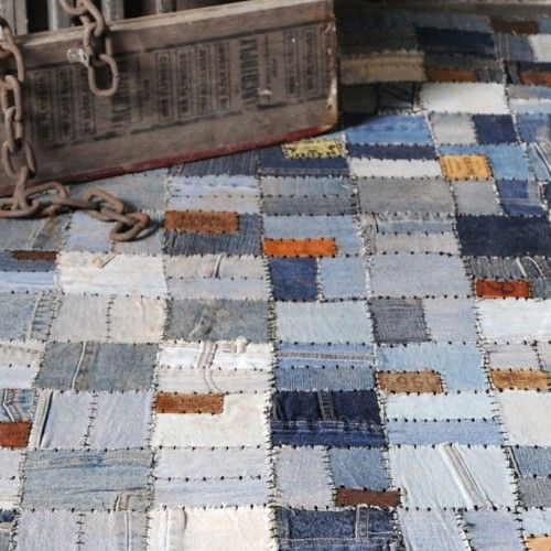 Large Denim Hand Woven Recycled Rug
