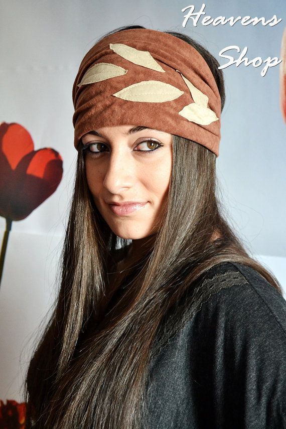 Wide Brown Turban With Leaf Appliques Headband by HeavensShop, €14.00