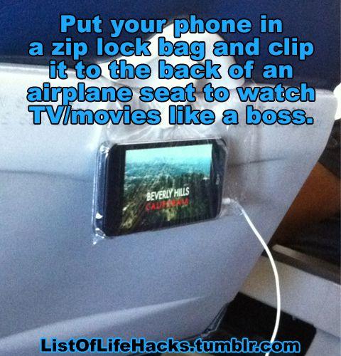 Watch TV on the Airplane Like a Boss | Life Hacks | Airplane, Life