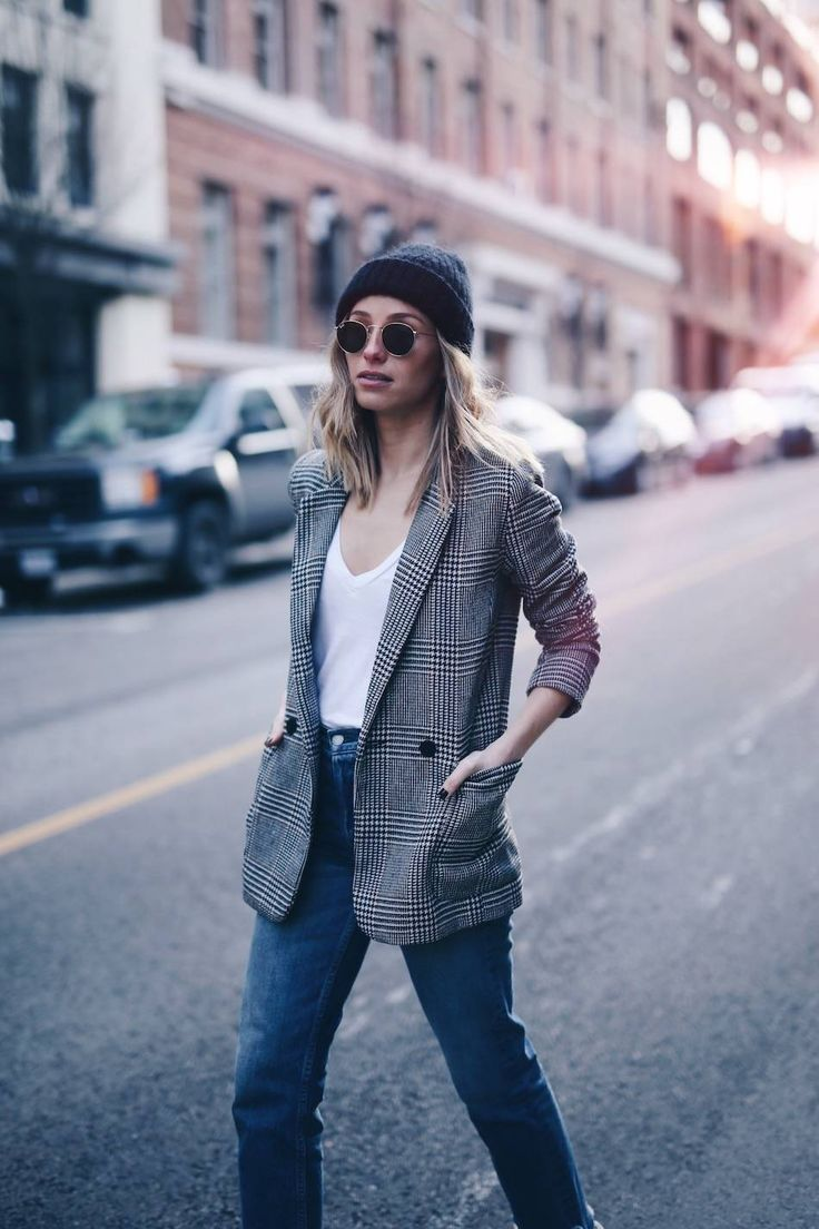 Plaid blazer, Acne Studios beanie | The August Diaries