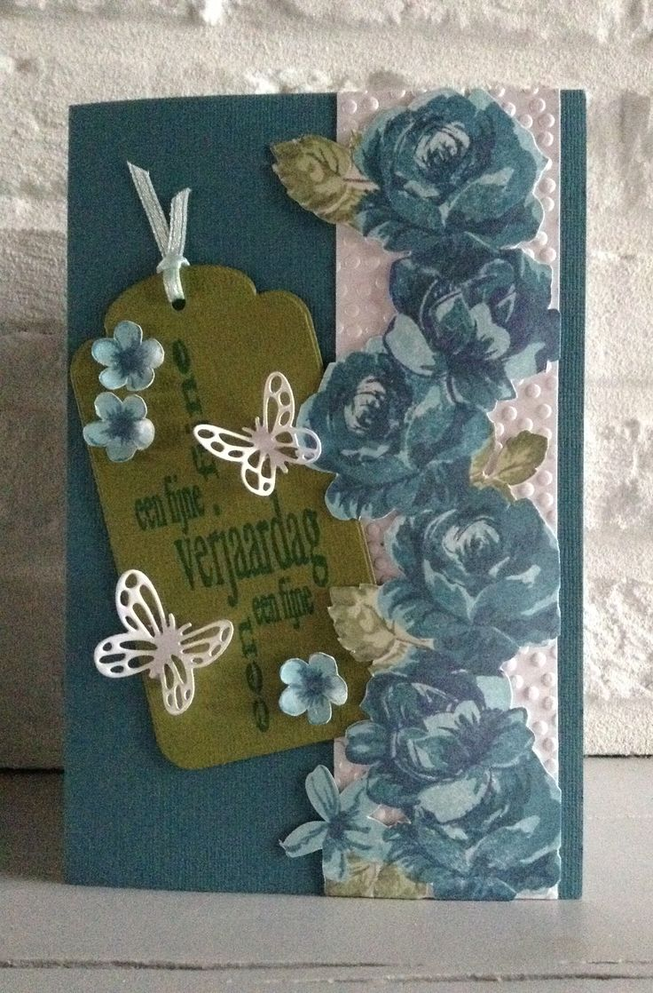 """CB. Altenew clearstamps """"Vintage Flowers"""" met Memento inkt-Label Nellie Snellen-""""Een fijne verjaardag"""" v Crafts & Things-Vlinders bij mal MD Lr0456"""