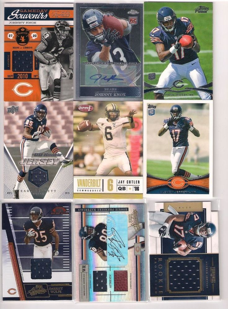 Chicago Bears Alshon Jeffrey Rookie,Johnny Knox,Jay Cutler Rookie Autograph LOT #ChicagoBears