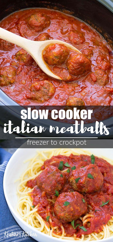 Slow Cooker Italian Meatballs with marinara sauce are a comfort food family dinn…