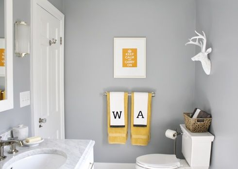 Yellow bathroom ideas check out other gallery of gray for Pale yellow bathroom accessories