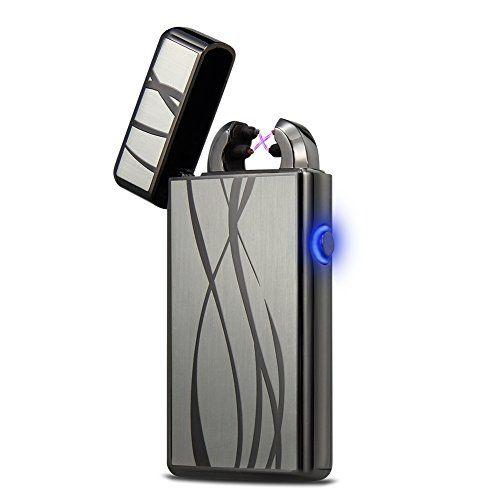 Arc Lighter,PADGENE Windproof Electronic Pulse Double Arc Lighter USB Cigarette Lighter Rechargeable Flameless Arc Cigar Lighter No Gas Mini Pocket Ignition Lighter for Men Best Present (Silver)