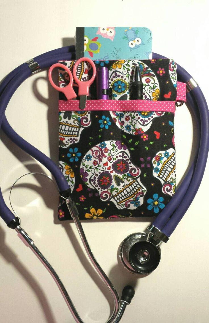 Scrub Pocket Organizer, Lab Coat! Purse organizer. Nurse, Clinicals, RN, CNA, LPN, Vet Tech. Sugar Skulls, Day of the Dead! by AmethystAlleyFantasy on Etsy