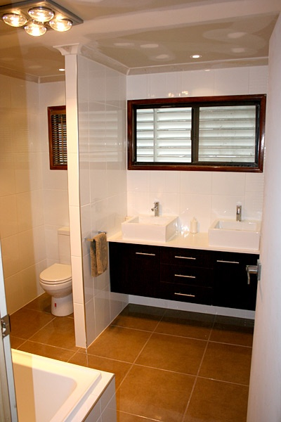 Brown And White Bathroom Wall Hung Vanity Units - Brisbane