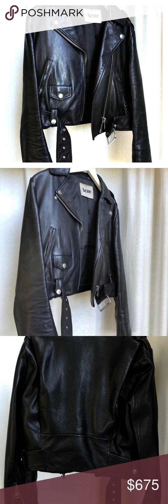 Acne mock size 36 leather jacket black Leather jacket