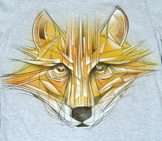 red fox vulpe hand-painted t-shirt