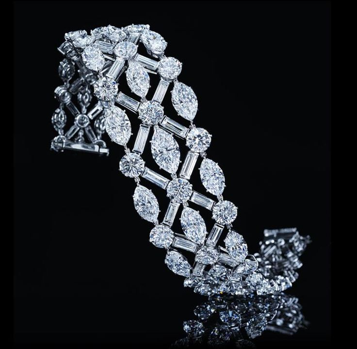 Harry Winston- Diamond Bracelet with Round, Baguette and Marquise Diamonds 110 baguette, round and marquise diamonds, 65.40 carats; platinum setting.