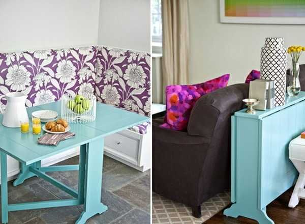 folding side table in blue color http://www.lushome.com/30-space-saving-folding-table-design-ideas-functional-small-rooms/92117