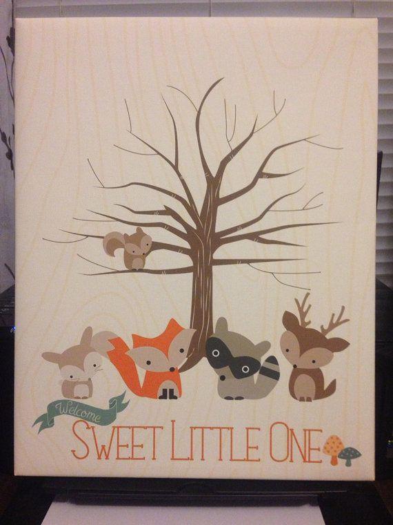 Sweet Baby bois douche empreinte arbre Amis de la par InkyInvite