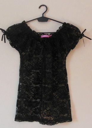 Kup mój przedmiot na #vintedpl http://www.vinted.pl/damska-odziez/bluzki-z-krotkimi-rekawami/16848596-wewa-koronkowa-czarna-bluzka-36-38