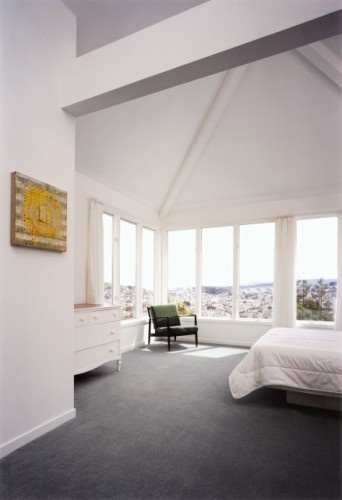 Bedroom carpet with white walls. Chocolate furniture would match and warm up room