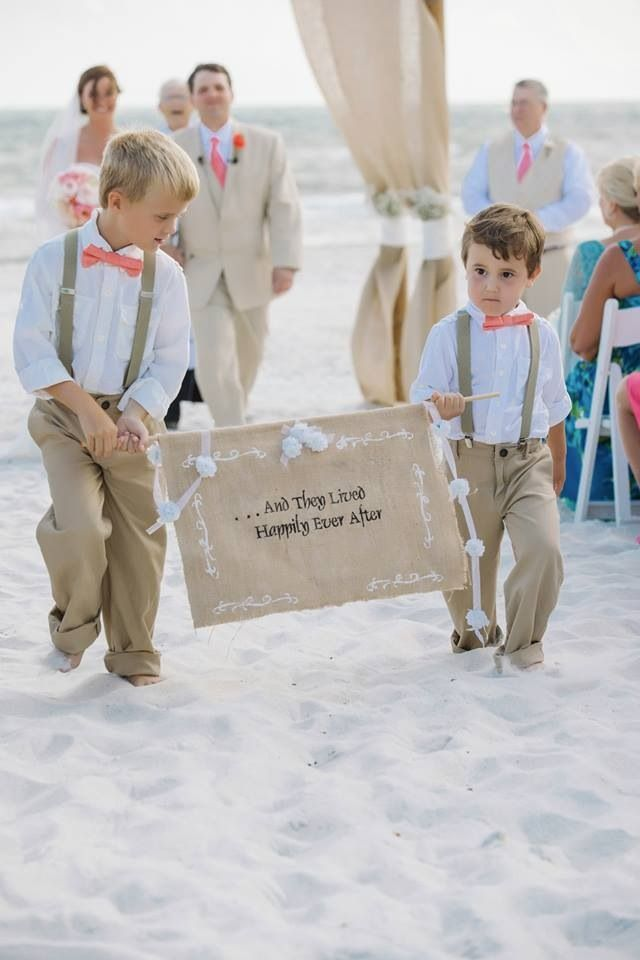 And they lived happily ever after sign  Ring bearers  suspenders and coral Bow tie Carillon Beach, FL www.dearwesleyann.com