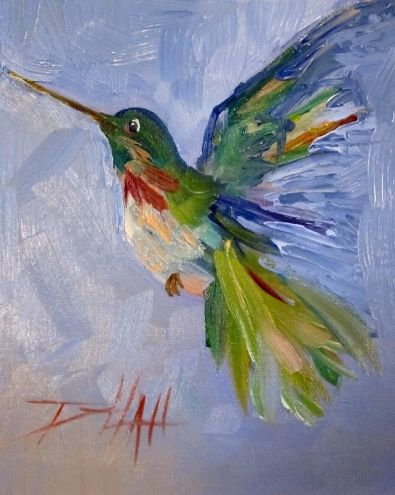 Green Hummingbird, painting by artist Delilah Smith