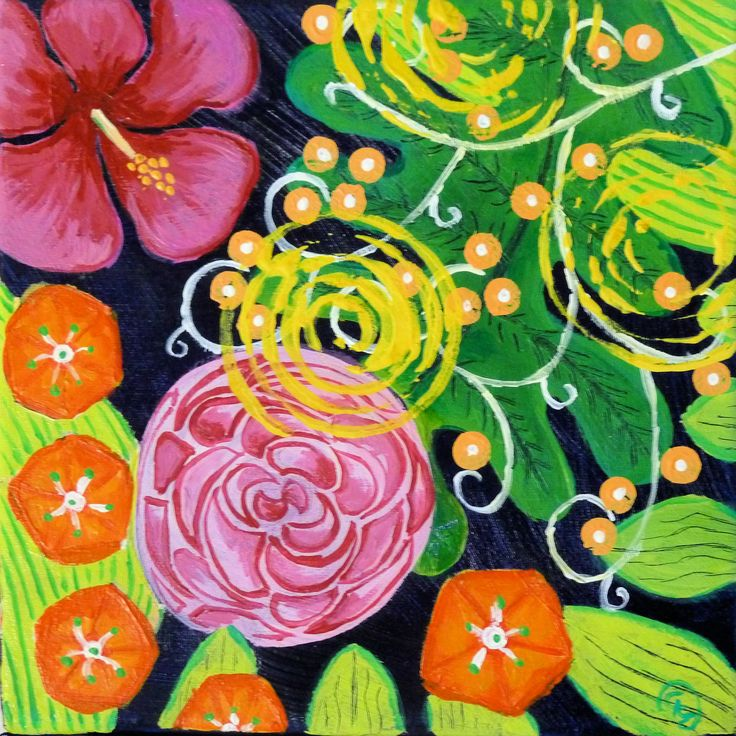 Floral abstraction #3 - Small format - Acrylics - by CelinaS - a member of the Hangar Artist Group (www.hangarart.org)