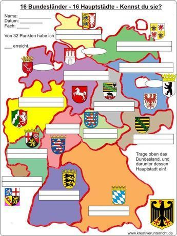 16 Bundesländer-16 Hauptstädte - 16 federal states of Germany