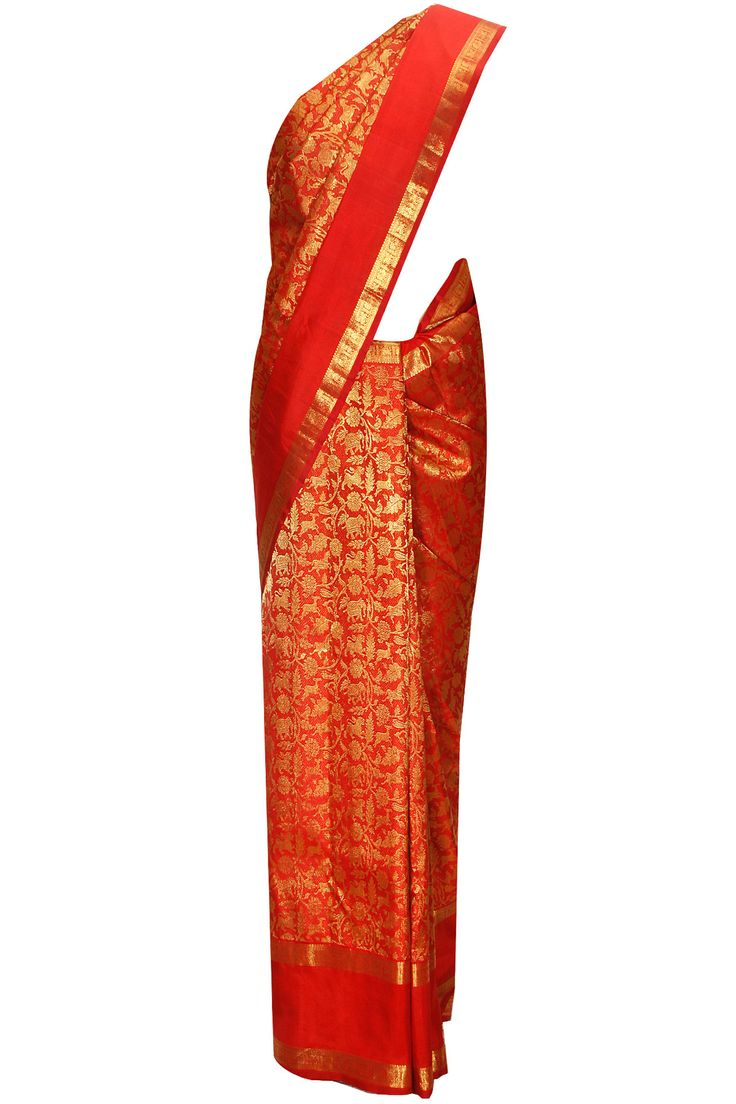 Red handwoven gold horse and floral print sari with red blouse piece available only at Pernia's Pop-Up Shop.
