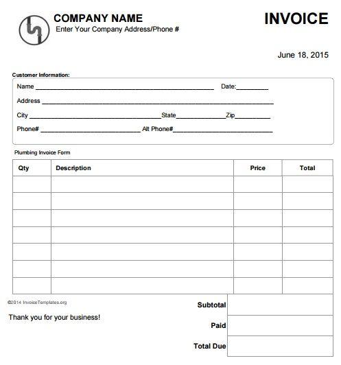 15 best Free Plumbing Invoice Templates images on Pinterest - plumbing receipt template