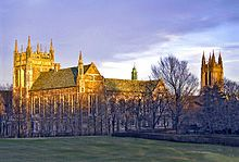 Boston College: the architecture style is Collegiate Gothic, a subgenre of Gothic Revival architecture, a 19th-century movement.