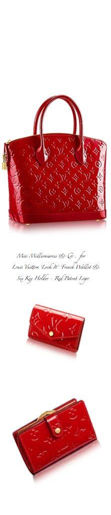 Louis Vuitton 'Lock It' Logo Tote, 'French Logo Wallet' 'Logo Six Key Holder' in Red Patent