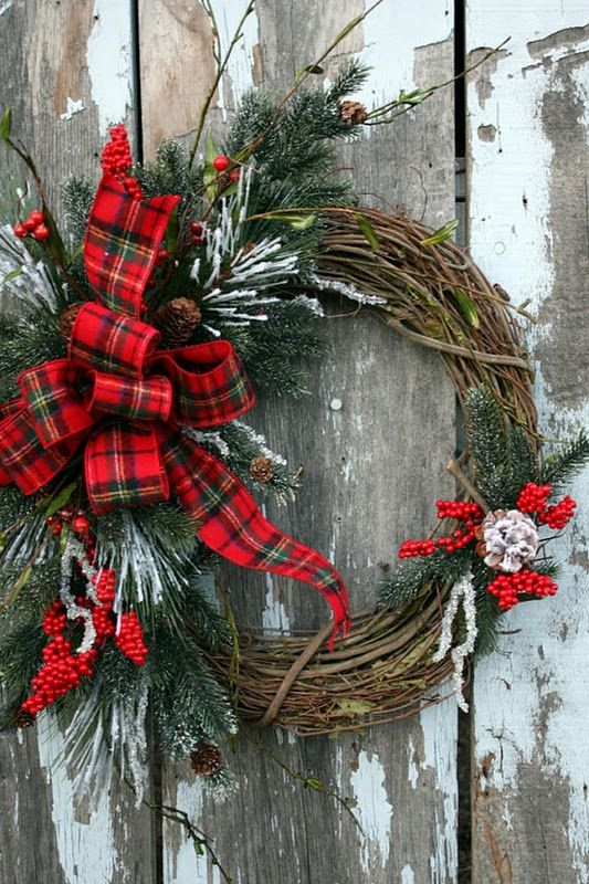 Really pretty wreath! this is quite traditional...willow wreath with tartan bow....you could change it up any way you like