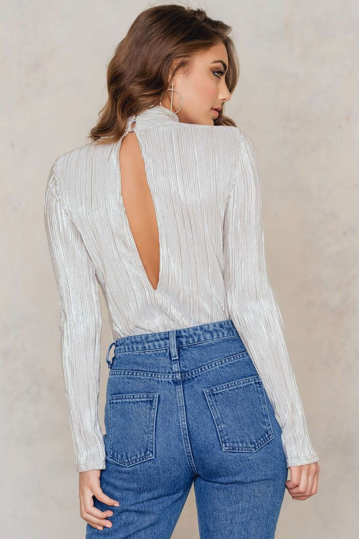 Pleated High Neck Open Back Top