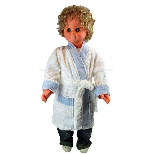 Peuter badjas met witte rand en één opgestikte zakvan het merk Babiezz.De ceintuur van dit badstof badjasje is aan de achterzijde vastgestikt. Leuk als kraam of verjaardags cadeau. 100% katoen