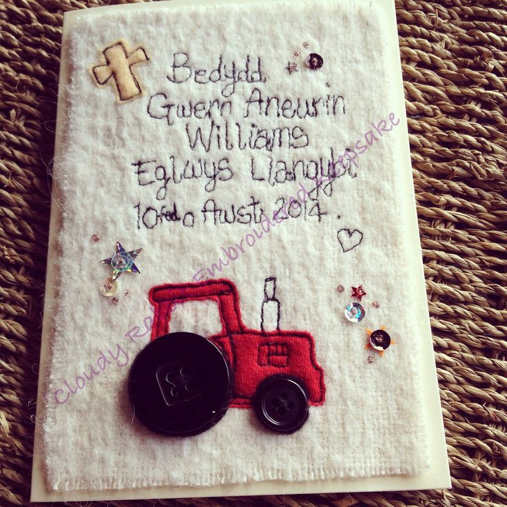 A Cloudy Rabbit Embroidered Keepsake Christening card.   #freehandmachineembroidery #christening #Welsh #tractor #sequins  www.facebook.com/somethingalittlebitdiffeRnt