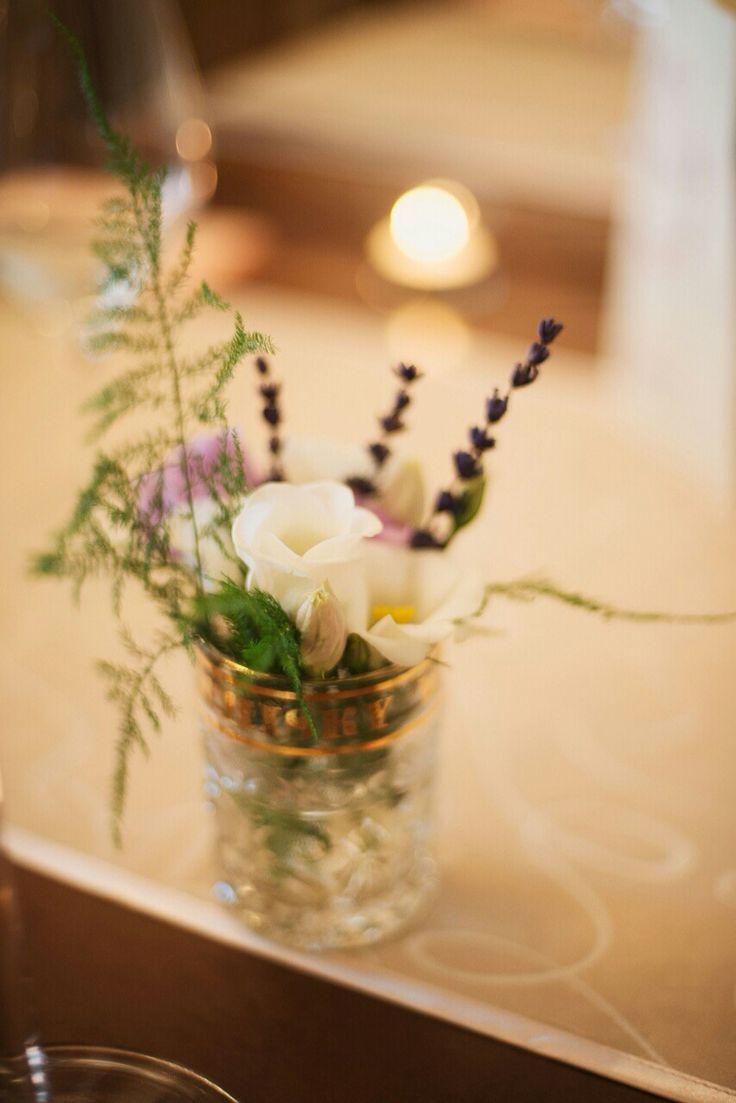 Small vintage vase.. Mix of flowers.simple and elegant