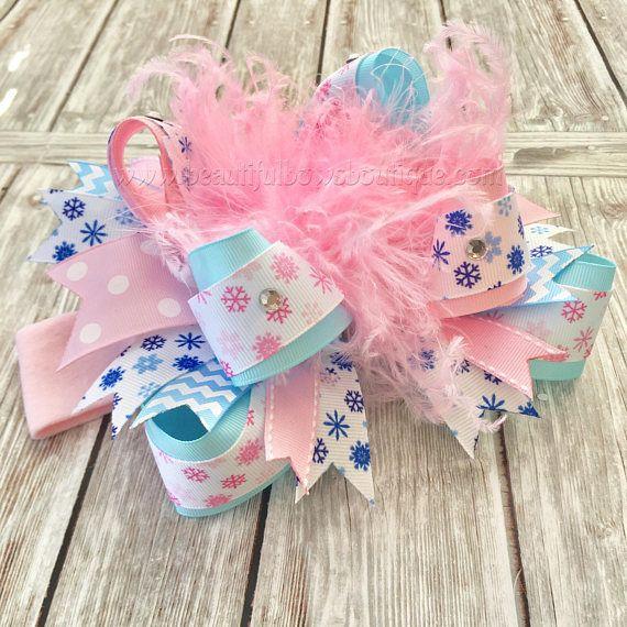pink snowflake birthday hair accessories winter cake smash baby girl Pink winter Onederland first birthday hair bow headband or hair clip