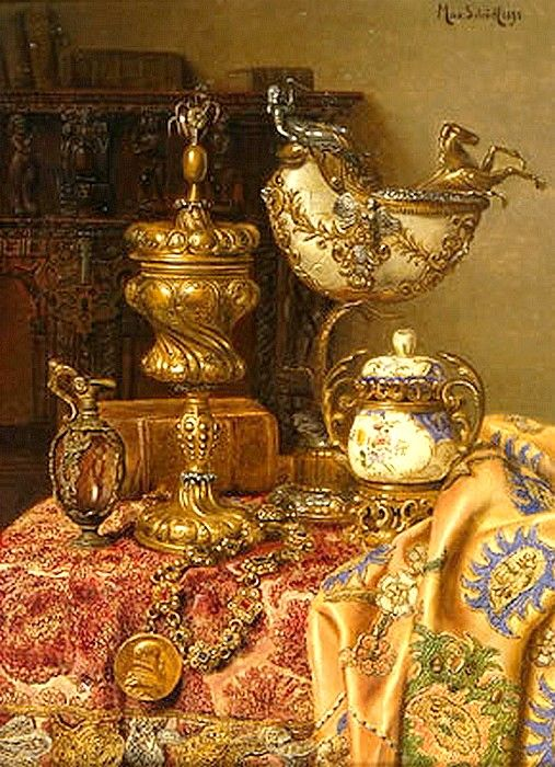 Max Schödl (1834-1921) — The Pompous Still Life with Nautilus, 1895 (507x700)