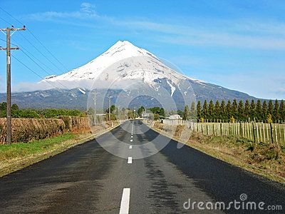 Road To A Snow Capped Mount Egmont - Download From Over 27 Million High Quality Stock Photos, Images, Vectors. Sign up for FREE today. Image: 47068857