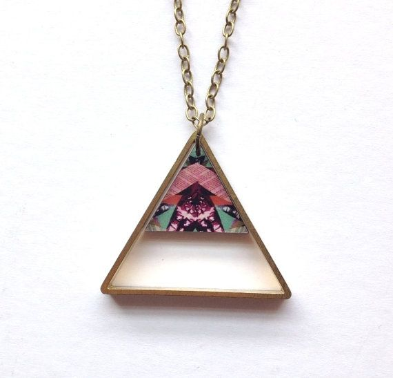 Double Triangle Geometric Necklace Insect Patterned by MicaPeet