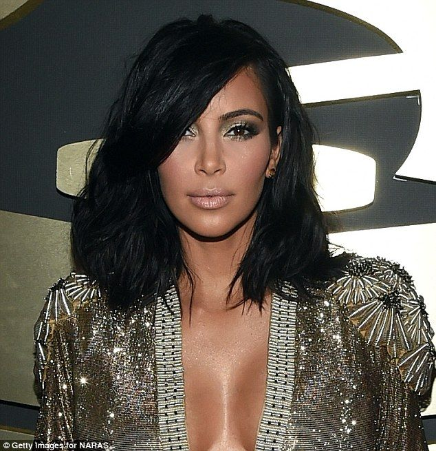 Kim Kardashian abandoned her famous ebony tresses in favour of a sultry 'wob' at the Grammy awards