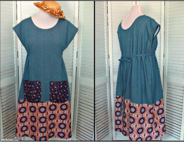 Ladies Full Slip On DenimApron/Smock/Tunic/Prairie Dress-Boho print-Dottie Angel-Size Large by MessyMessyMe on Etsy