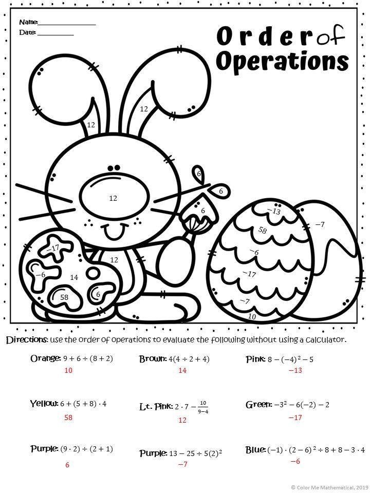 EASTER BUNNY Basic Algebra Color by Number Worksheets