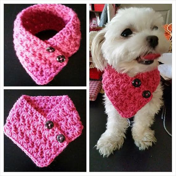 Small  Dog Crocheted scarf PINK Colors fits most by QuiltNCrochet #CrochetScarf