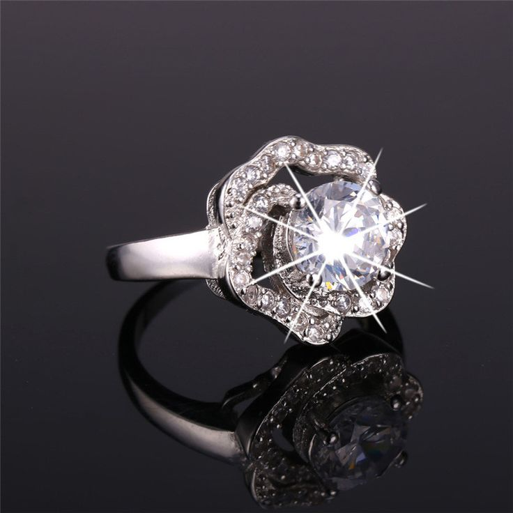 U7 Engagement Rings For Women Wedding 2015 Wholesale 18K Gold Plated AAA Cubic Zirconia Rose Flower Ring Wedding Bands