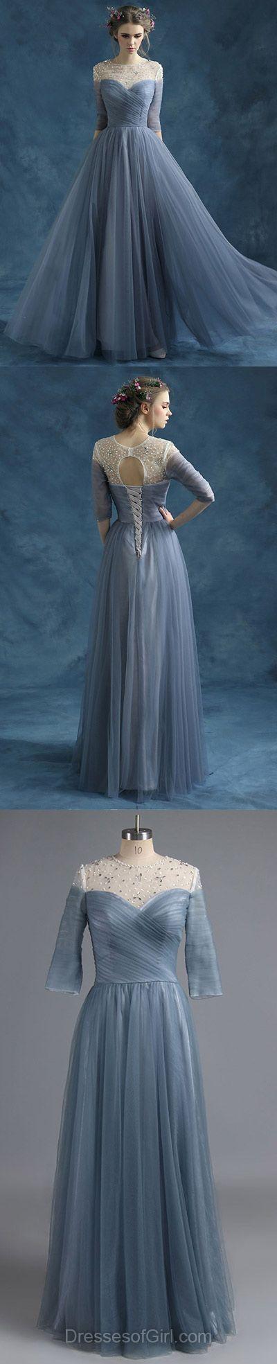 Scoop Neck Tulle Beading Floor-length 3/4 Sleeve Designer Prom Dress