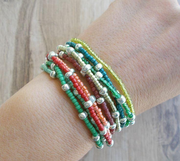 9 Seed Beads Bracelet Set, Layer Bracelets, Small Bead Bracelets, Stacking Bracelets, Stretch Band Bracelets,Green,Orange,Red Bracelets by BluePinkJewelry on Etsy