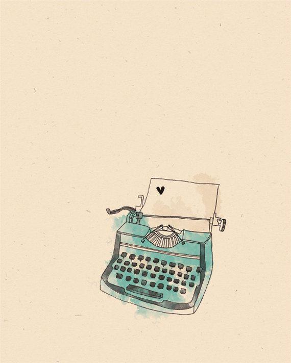 Original Vintage Typewriter Illustration Print by AnAprilIdea, $19.95